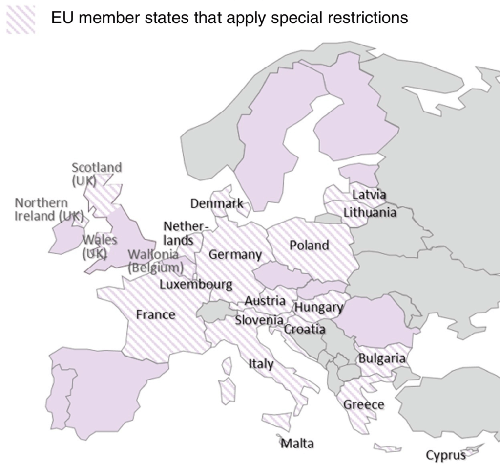 Map shows EU member states with additional restrictions on genetically engineered organisms.